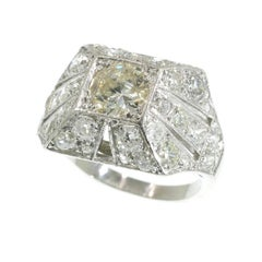 Retro 3.78 Carat Old European Diamond Platinum Cocktail Ring, 1930s