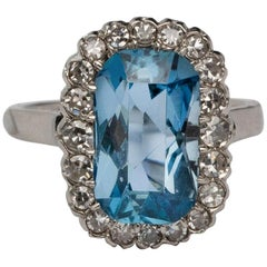 "Retro 4 Carat ""Santa Maria"" Aquamarine Platinum Ring with Diamond Halo"