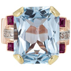 Retro 40s Blue Topaz Ruby Diamond Ring Vintage 18k Rose Gold Pinky Cocktail 3.5
