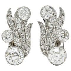 Retro 4.15 Carat Old European Diamond 18 Karat White Gold Ear-Clip Earrings
