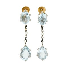 Retro 4.24 Carat Aquamarine Natural Pearl Platinum 14 Karat Gold Earrings