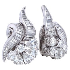 Retro 4.50 Carat Diamond Platinum Ear Clips