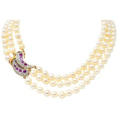 Retro 4.50 Carat Ruby Diamond Three-Strand Cultured Pearl 18 Karat Gold Necklace