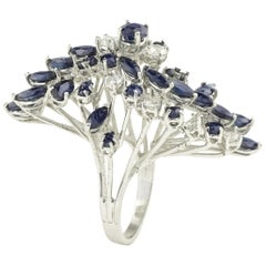 Retro 4.50 Carat Sapphires and Diamonds White Gold Cluster Cocktail Ring