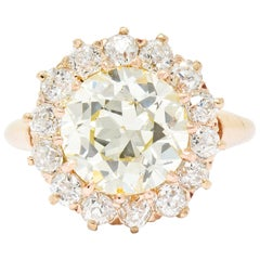 Retro 4.94 Carat Old European Cut Diamond 14 Karat Rose Gold Cluster Ring