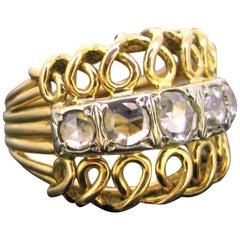 Retro 5 Rose Cut Diamonds Bombe Yellow Gold Platinum Ring