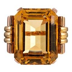 Retro 50 Carat Citrine Ring