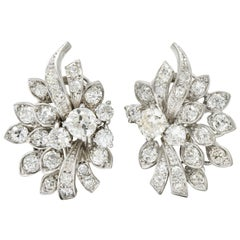 Retro 5.00 Carat Diamond Platinum Cluster Earrings, circa 1940s