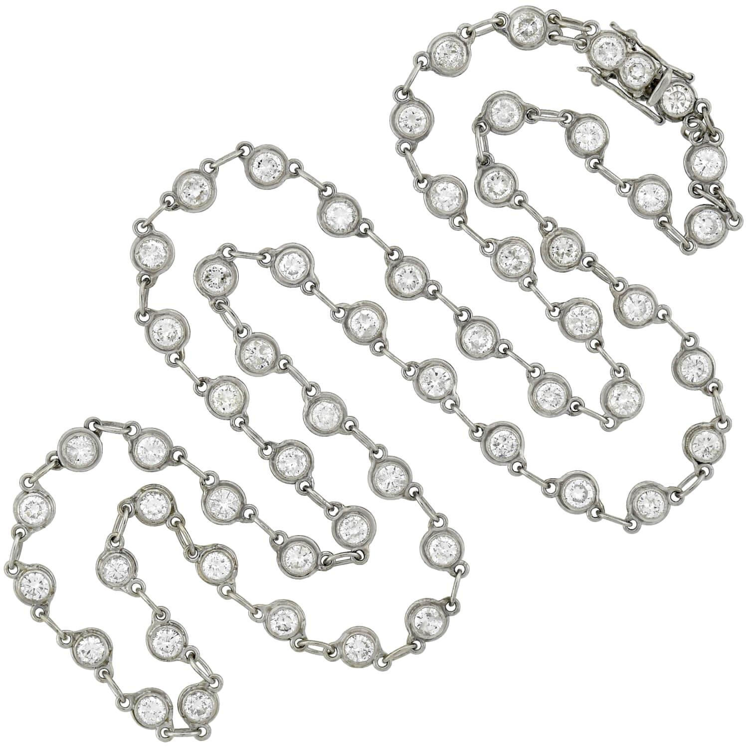 Retro 5.30 Total Carat Diamonds by the Yard Link Chain Necklace