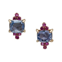 Retro 6.50 and 7.00 Carat Ceylon Sapphire and Ruby Ear Clips in Yellow Gold