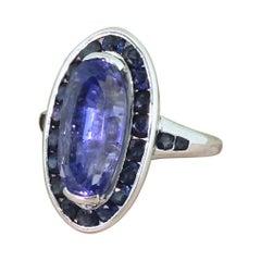 Retro 7.24 Carat '+ 1.08 Carat' Natural Ceylon Sapphire Cluster Ring