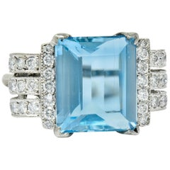 Retro 7.75 Carat Aquamarine Diamond 18 Karat Gold Scrolled Statement Ring