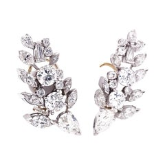 Retro 8.00 Carats Diamond Platinum Ear Clips