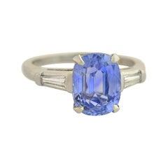 Retro AGL Certified No Heat 3.93 Carat Ceylon Sapphire and Diamond Ring