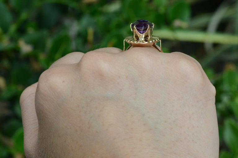 Retro Amethyst Gold Cocktail Ring 8 Carat Long Marquise Statement Jewelry 1940s In Good Condition For Sale In Santa Barbara, CA