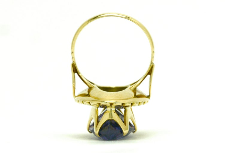 Retro Amethyst Gold Cocktail Ring 8 Carat Long Marquise Statement Jewelry 1940s For Sale 1