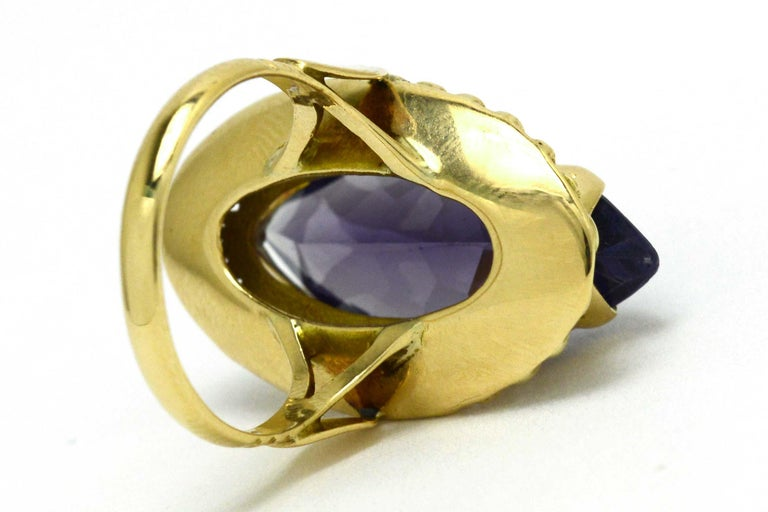 Retro Amethyst Gold Cocktail Ring 8 Carat Long Marquise Statement Jewelry 1940s For Sale 2