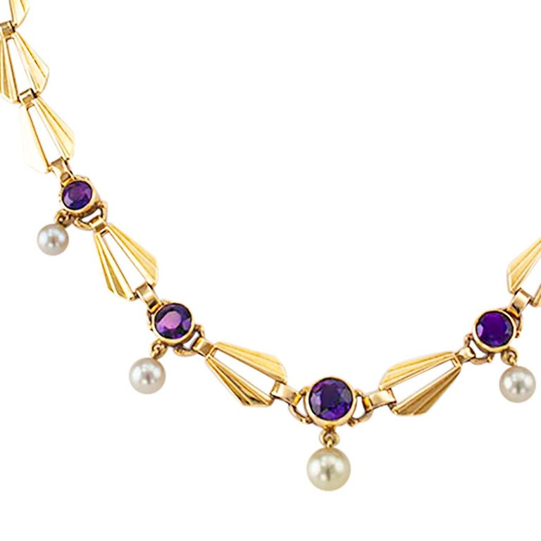Women's Retro Amethyst Cultured Pearl Gold Necklace For Sale
