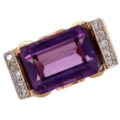 Retro Amethyst Diamond 18 Karat Rose Gold Cocktail Right Hand Ring