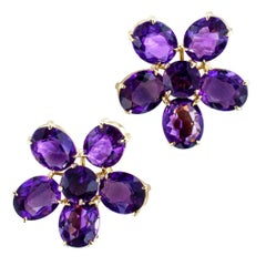 Retro Amethyst Gold Earrings