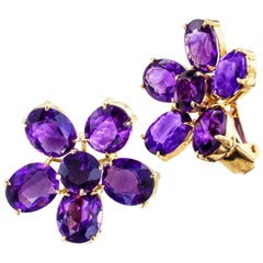 Retro Amethyst Yellow Gold Clip-On Earrings