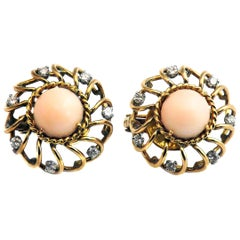 Retro Angle Skin Coral Diamond 18 Karat Gold Earrings
