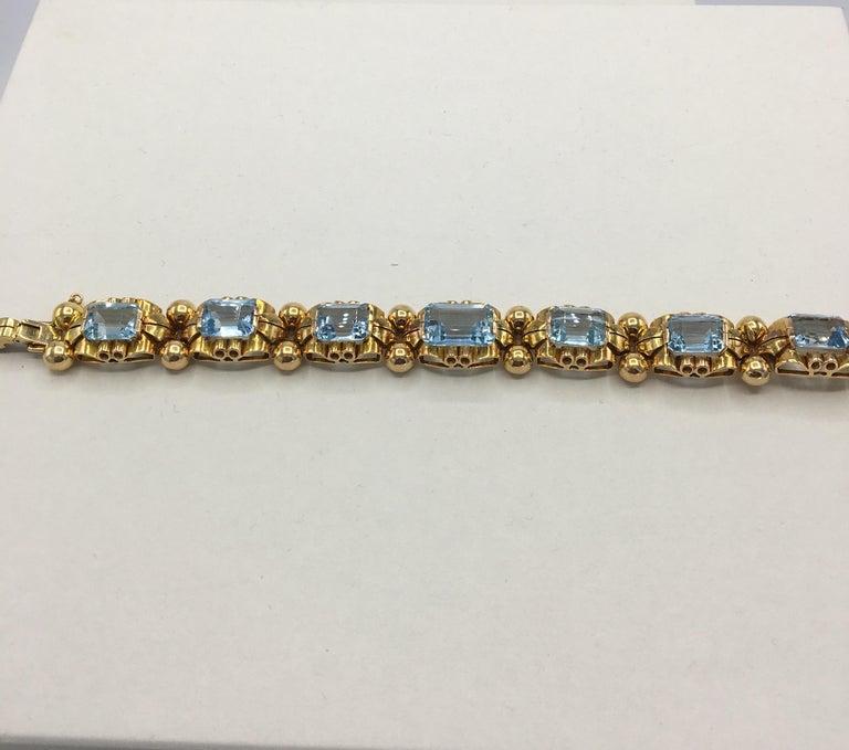 Retro Aquamarine 18 Karat Rose Gold Bracelet For Sale 5