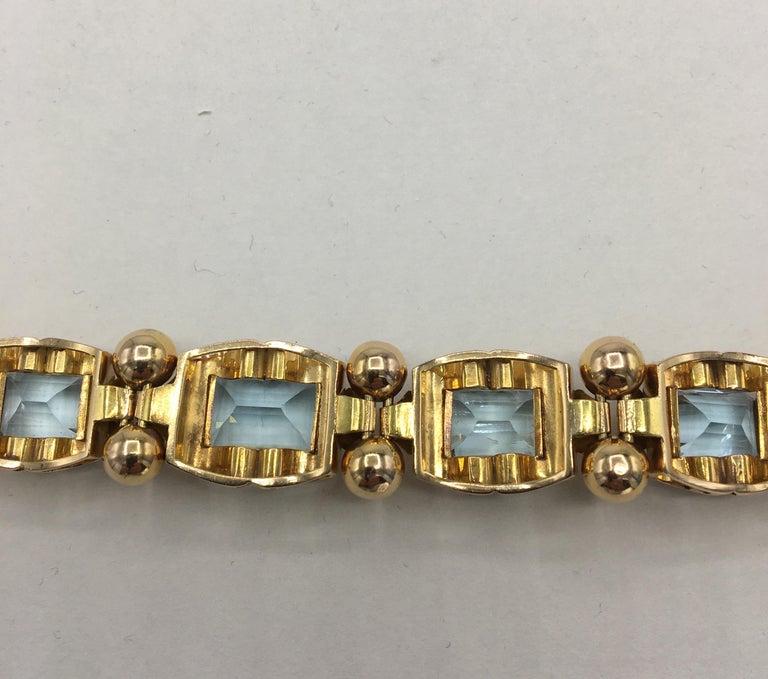Retro Aquamarine 18 Karat Rose Gold Bracelet For Sale 6