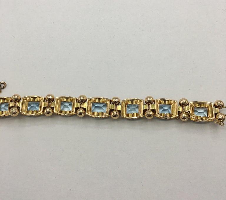 Retro Aquamarine 18 Karat Rose Gold Bracelet For Sale 7