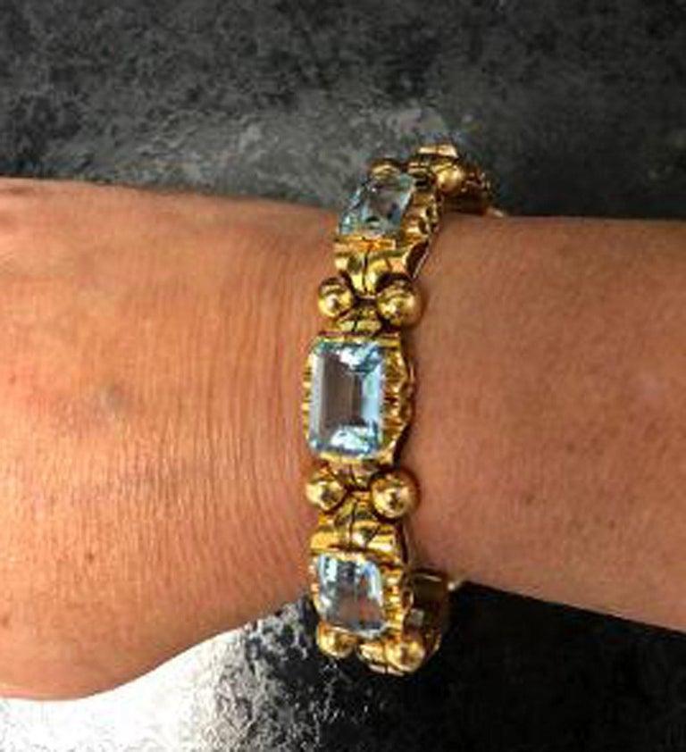 Emerald Cut Retro Aquamarine 18 Karat Rose Gold Bracelet For Sale