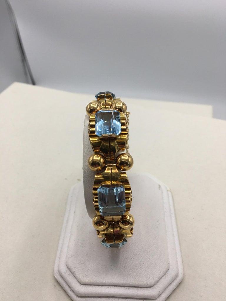 Retro Aquamarine 18 Karat Rose Gold Bracelet For Sale 1
