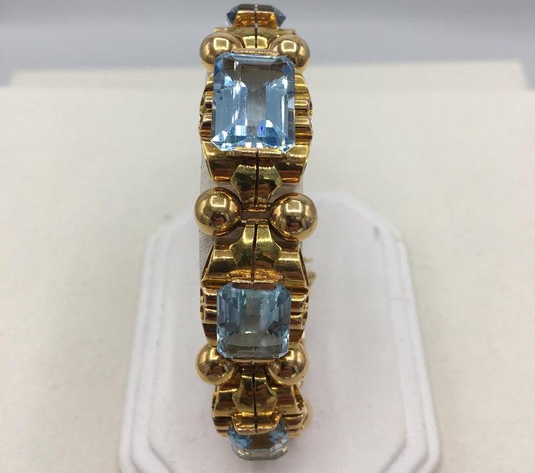 Retro Aquamarine 18 Karat Rose Gold Bracelet For Sale 2