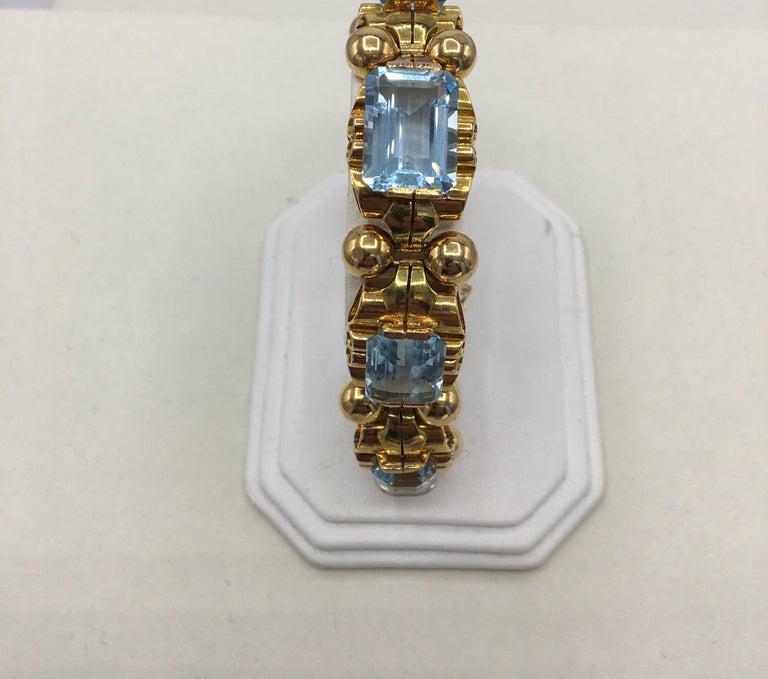 Retro Aquamarine 18 Karat Rose Gold Bracelet For Sale 3