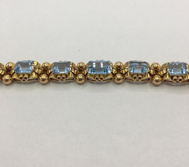 Retro Aquamarine 18 Karat Rose Gold Bracelet For Sale 4
