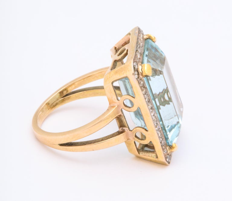 Retro Aquamarine and Diamond Ring In Good Condition For Sale In New York, NY