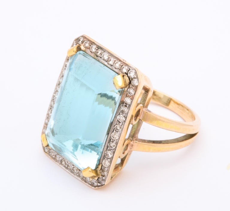 Retro Aquamarine and Diamond Ring For Sale 2