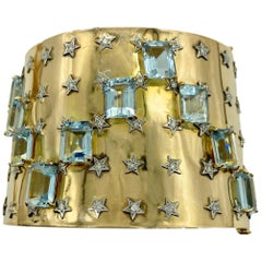 Retro Aquamarine and Diamond Stars Gold Cuff Bracelet