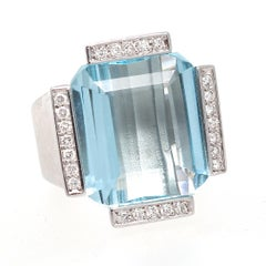 Retro Aquamarine Diamond Gold Cocktail Ring