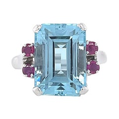 Retro Aquamarine Ruby 14 Karat White Gold Cocktail Ring