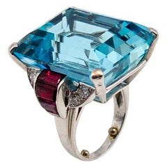 Retro Aquamarine Ruby Diamond Ring