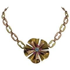 Retro Aquamarine Ruby Flower Necklace 14 Karat Gold Mid-Century Modern