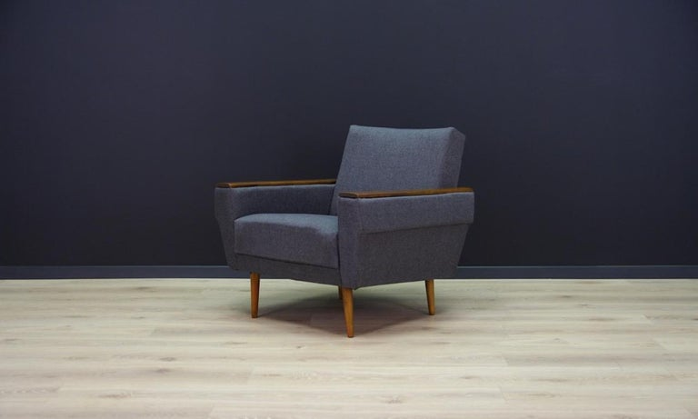 Retro armchairs from the 1960s-1970s, beautiful minimalist form - Scandinavian design. Armchairs covered with new upholstery. Phenomenal beech armrests. Preserved in good condition (minor scratches on the armrests), directly for use.  Price for