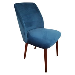 Retro Armchair, Velour, Stained Beech Legs, 1960s, Completely Restored