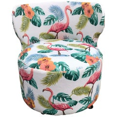 Retro Armchair with Flamingo Pattern, 1970s