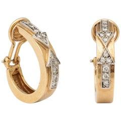 Retro Arrow Design Diamond and Gold Hoop Earrings