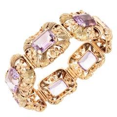 GIA Certified 70.00 Carat Amethyst Pink Green Gold Art Deco Bracelet
