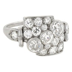 Retro Asymmetrical Diamond Encrusted Ring 1.83 Total Carat