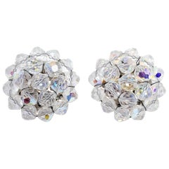 Retro Aurora Borealis Crystal Cluster Clip On Earrings, Silver, Late 1900s