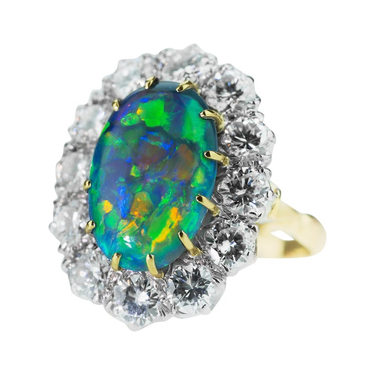 Retro Australian Black Opal and Diamond Cluster Ring in 18 Karat Gold For Sale