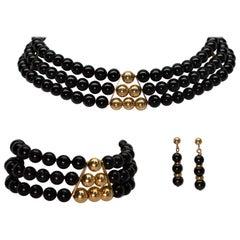 Retro Beaded Choker Necklace, Cuff Bracelet, Earring Trio